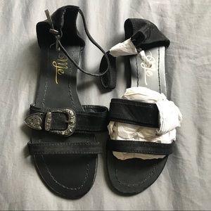 Shoes - NWOT So Me Black Faux Suede Western Buckle Sandals